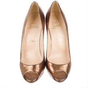 Christian Louboutin metallic bronze gold open toe